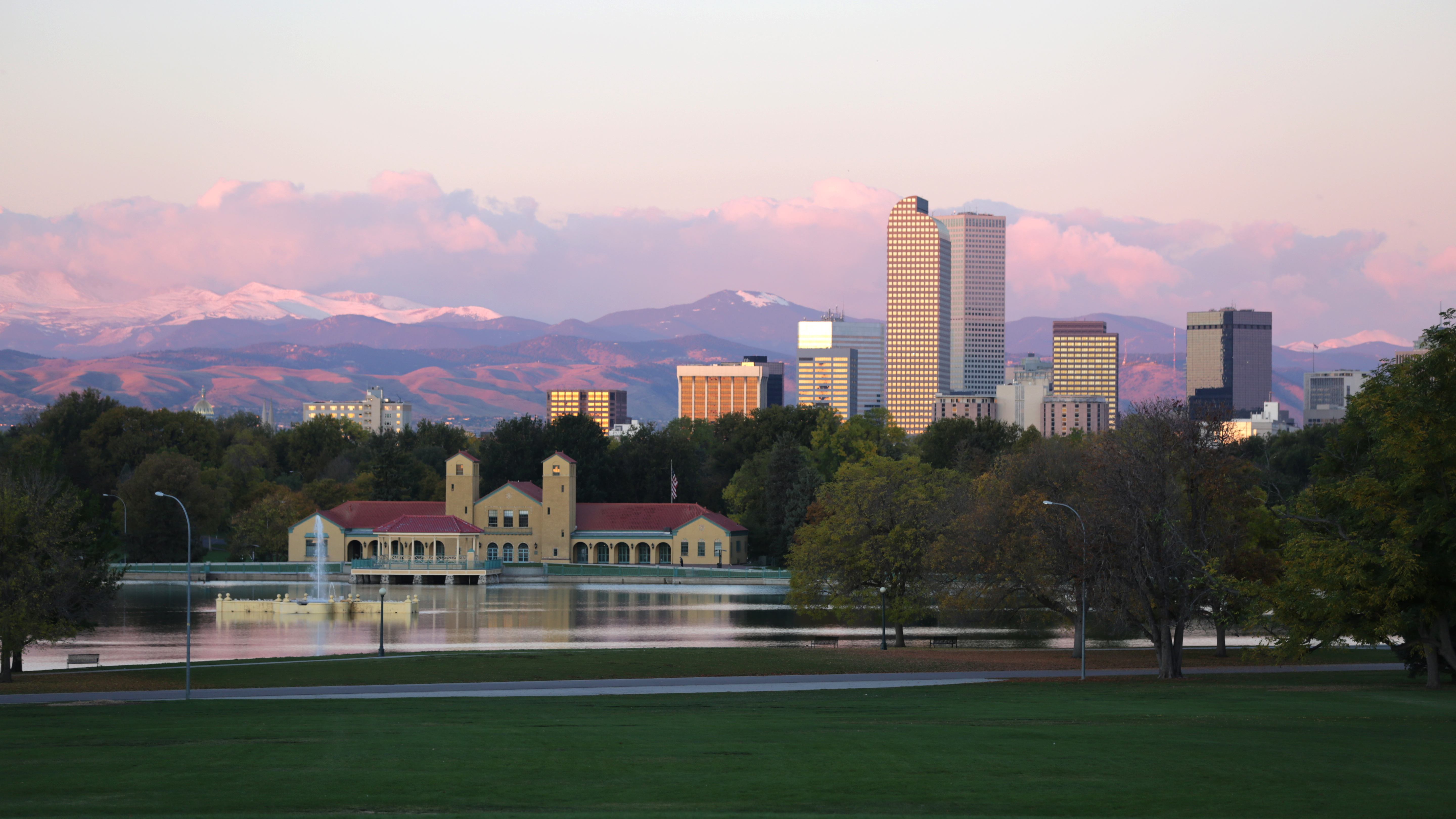The Denver skylineand the Rocky Mountains.